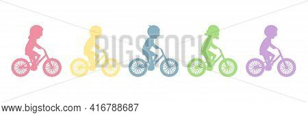 Cute Happy Children Riding Bicycles Silhouettes. Different Kids Ride Bikes. Healthy Lifestyle. Sport