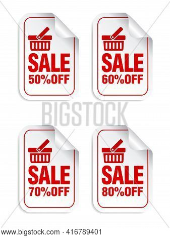 Sale Stickers Set With Shopping Basket. Sale Stickers 50%, 60%, 70%, 80% Off. Vector Illustration