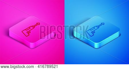 Isometric Line Fishing Harpoon Icon Isolated On Pink And Blue Background. Fishery Manufacturers For