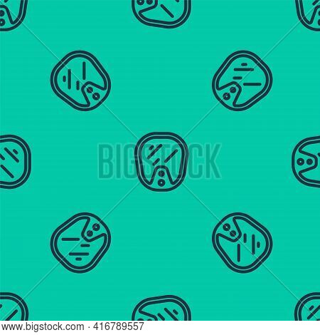 Blue Line Diving Mask Icon Isolated Seamless Pattern On Green Background. Extreme Sport. Diving Unde