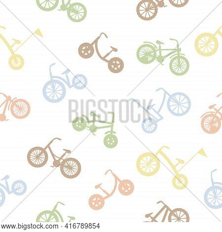 Bicycles Seamless Pattern Silhouettes. Kids Colorful Bikes. Healthy Lifestyle In Different Colors. S