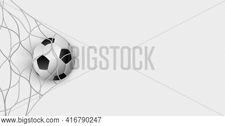Soccer Ball In A Soccer Goal Net On A White Background - Vector Illustration