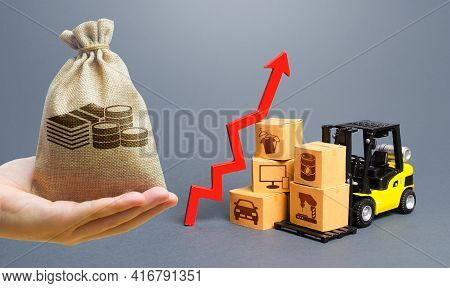 Money Bag, Forklift With Boxes And Red Arrow Up. Growth Of Performance Production Of Goods. Import E