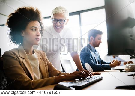 Group Of Multiethnic Business People Working At Busy Modern Office
