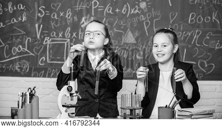 Make Studying Chemistry Interesting. Pupils Cute Girls Use Test Tubes With Liquids. Chemistry Experi