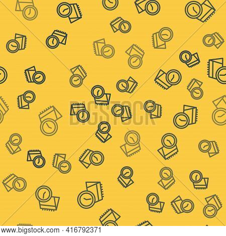 Blue Line Calendar And Clock Icon Isolated Seamless Pattern On Yellow Background. Schedule, Appointm