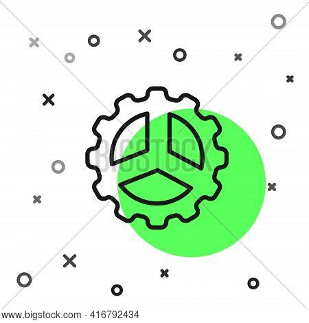 Black Line Bicycle Sprocket Crank Icon Isolated On White Background. Vector