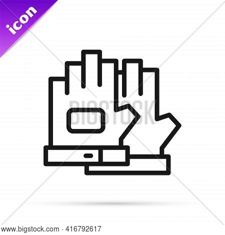 Black Line Gloves Icon Isolated On White Background. Extreme Sport. Sport Equipment. Vector