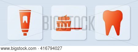 Set Toothbrush With Toothpaste, Tube Of Toothpaste And Tooth. White Square Button. Vector