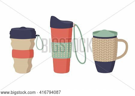 Reusable Cups, Tumblers And Thermo Mug With Cover. Set Of Thermos For Take Away Coffee. Zero Waste.