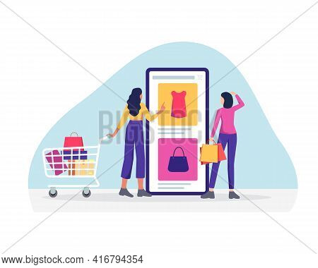 Woman Shopping Online Concept