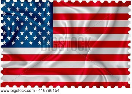Vintage Postage Stamp Template. Postage Stamp With The Flag Of The United States On A White Backgrou