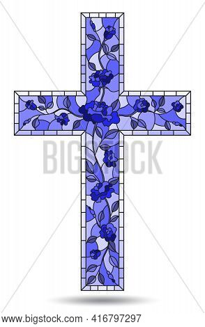 Illustration In Stained Glass Style Painting On Religious Themes, Stained Glass Window In The Shape
