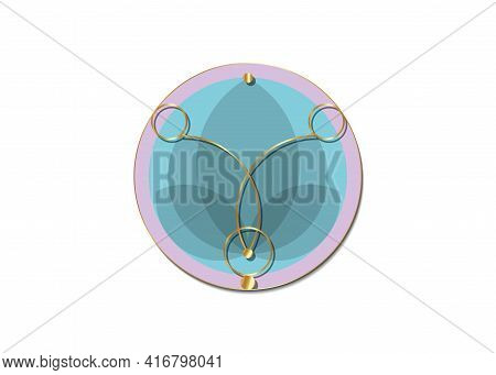 Sacred Lotus, Purple Flower Of Life. Sacred Geometry. Colorful Symbol Of Harmony And Balance. Gold S