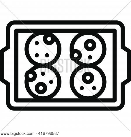 Cookies On Baking Tray Icon, Bakery And Baking Related Vector Illustration