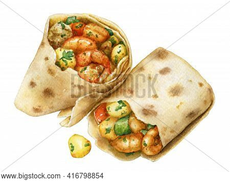 Watercolor Illustration Of Shawarma With Shrimps And Vegetables In Pita Bread Isolated On White Back