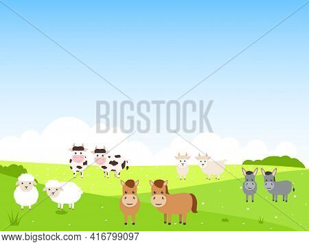 Cute Farm Animals On Summer Landscape Background. Bull, Cow, Donkey, Horse, Sheep And Goat Character