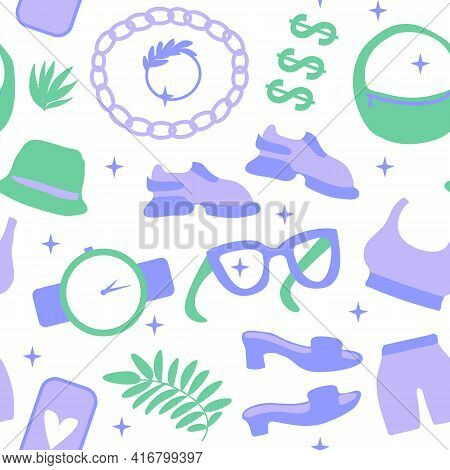 Seamless Pattern Life Style Shoes And Accessories. Vector Illustration Shoes, Sneakers, Bag And Acce