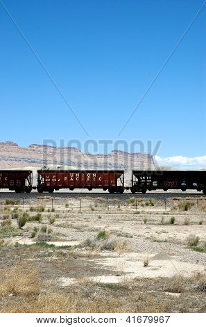 Train Boxcars in Utah Desert