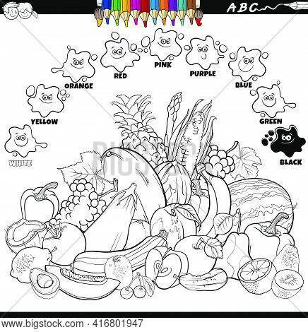 Black And White Educational Cartoon Illustration Of Basic Colors For Children With Vegetables And Fr
