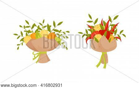 Bouquet Of Fresh Vegetables With Green Leafy Twigs Wrapped In Craft Paper Vector Set