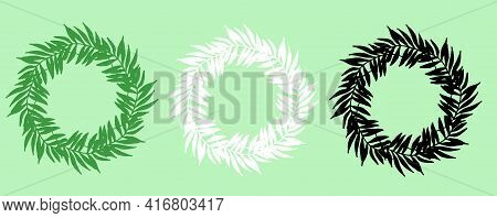 Black Doodle Wreath Tropical Leaves In Retro Style On Green Background. Trendy Floral Design. Floral