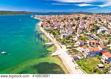 Adriatic Town Of Pirovac And Murter Island Aerial View, Dalmatia Region Of Croatia