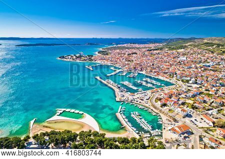 Adriatic Town Of Vodice Waterfront Aerial View, Dalmatia Archipelago Of Croatia