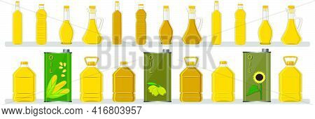 Illustration On Theme Big Kit Oil In Different Glass Bottles For Cooking Food. Glass Bottles Consist