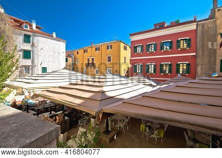 Colorful Historic Town Of Sibenik Street Cafe And Architecture View, Tourist Destination In Dalmatia