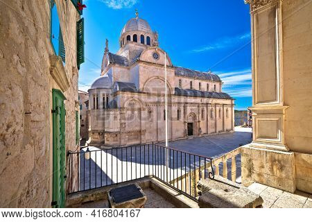 Town Of Sibenik Cathedral Of St James Square View, Unesco World Heritage Site, Dalmatia Region Of Cr