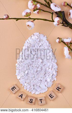 Eggshell Shards And Flower On Beige Background.