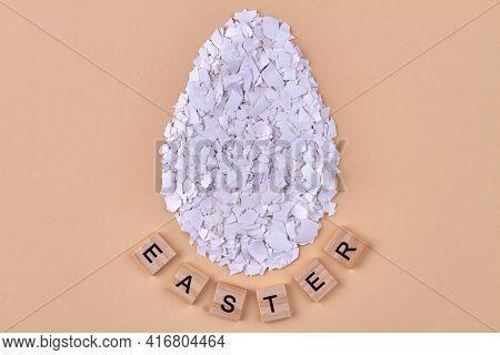 Huge Egg Made Of Broken Eggshell Pieces.