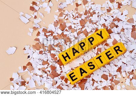 Eggshells And Easter Shards. Happy Easter Concept.