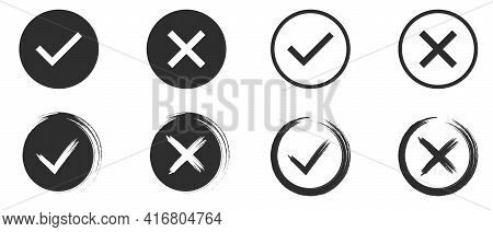 Set Of Black And White Tick And Cross. Simple Chek Marks Icon. Yes Or No Accept And Decline Symbol.