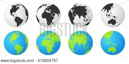 Set Of Earth Globes With Continents. Monochrome And Colorful World Map Symbol. Globe Worldmap Icon.