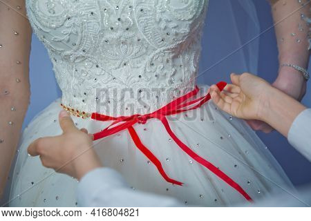 Lose The Ribbon On The Belly Of The Bride . Wedding . Bridesmaids Lace Bride . Close The Ribbon On T