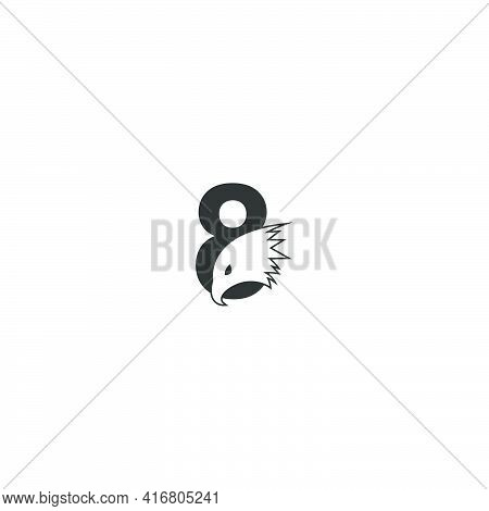 Number 8 Logo Icon With Falcon Head Design Symbol Template Vector