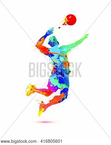 Man Playing Volleyball Silhouette Vector Icon Of Splash Paint