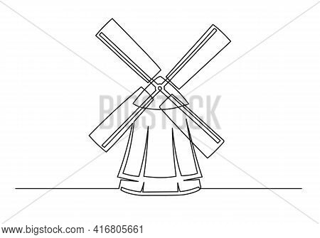 Continuous One Line Drawing Of An Vintage Mill. Farm Concept. Vintage Mill Isolated On A White Backg