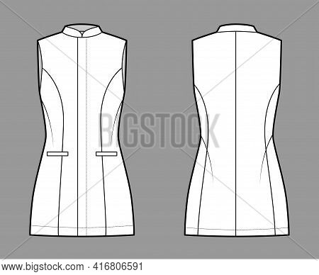 Long Vest Waistcoat Technical Fashion Illustration With Fitted Body, Sleeveless, Stand Collar, Hide