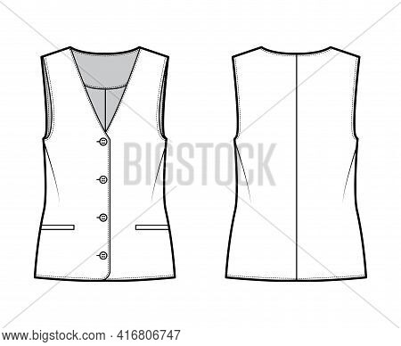Button Front Vest Waistcoat Technical Fashion Illustration With Sleeveless, Welt Besom Pockets, Fitt