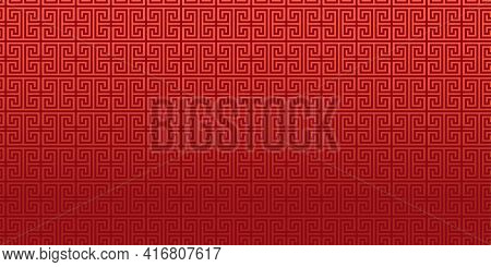 Red Chinese Vector Background, Greek Key Pattern, Oriental Ornament, Japanese Banner. Asian Or Antiq