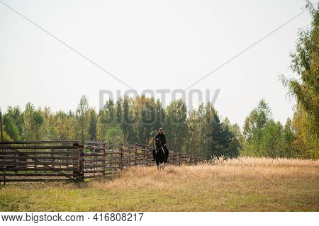 On A Warm Autumn Day, A Young Girl Went Out To Ride Her Mare On Horseback Around The Farm