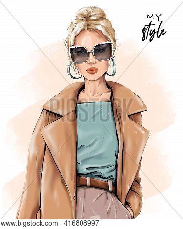 Fashion Blond Hair Woman. Beautiful Girl In Sunglasses. Stylish Girl In Coat. Fashion Illustration.