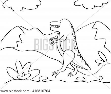 Dinosaur Hand-drawn Coloring Page For Kids. The Dinosaur Is A Tyrannosaurus Rex. It Can Be Used For
