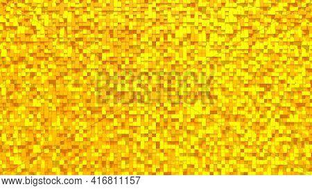 Orange Yellow Small Box Cube Random Geometric Background. Abstract Square Pixel Mosaic Illustration.