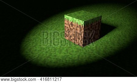 Video Game Minecraft Geometric Mosaic Waves Pattern. Construction Of Hills Landscape Using Brown And
