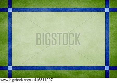 Green Grunge Textured Frame Around Mint Textured Parchment Background With Blue Grunge Textured Ribb