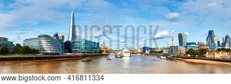 London, South Bank Of The Thames On A Bright Day. Panoramic Image Taken From The Tower Bridge.